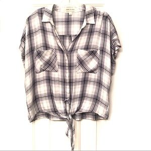 ANTHROPOLOGIE | Cloth & Stone Plaid Tie Front Top